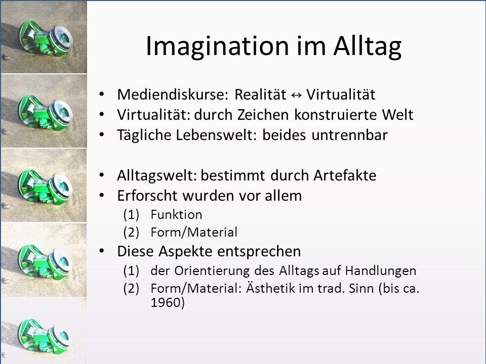 Imagination im Alltag Mediendiskurse: Realität Virtualität Virtualität: durch Zeichen konstruierte Welt Tägliche Lebenswelt: beides untrennbar Alltags