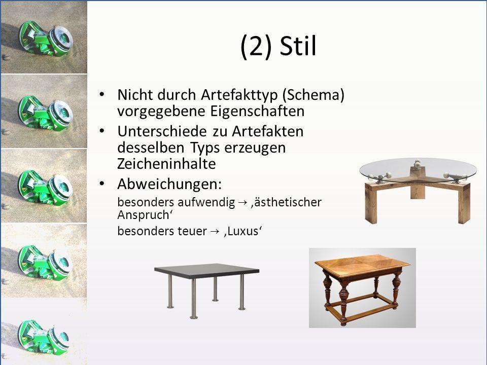 (2) Stil Nicht durch Artefakttyp (Schema) vorgegebene Eigenschaften Unterschiede zu Artefakten desselben Typs erzeugen Zeicheninhalte Abweichungen: be