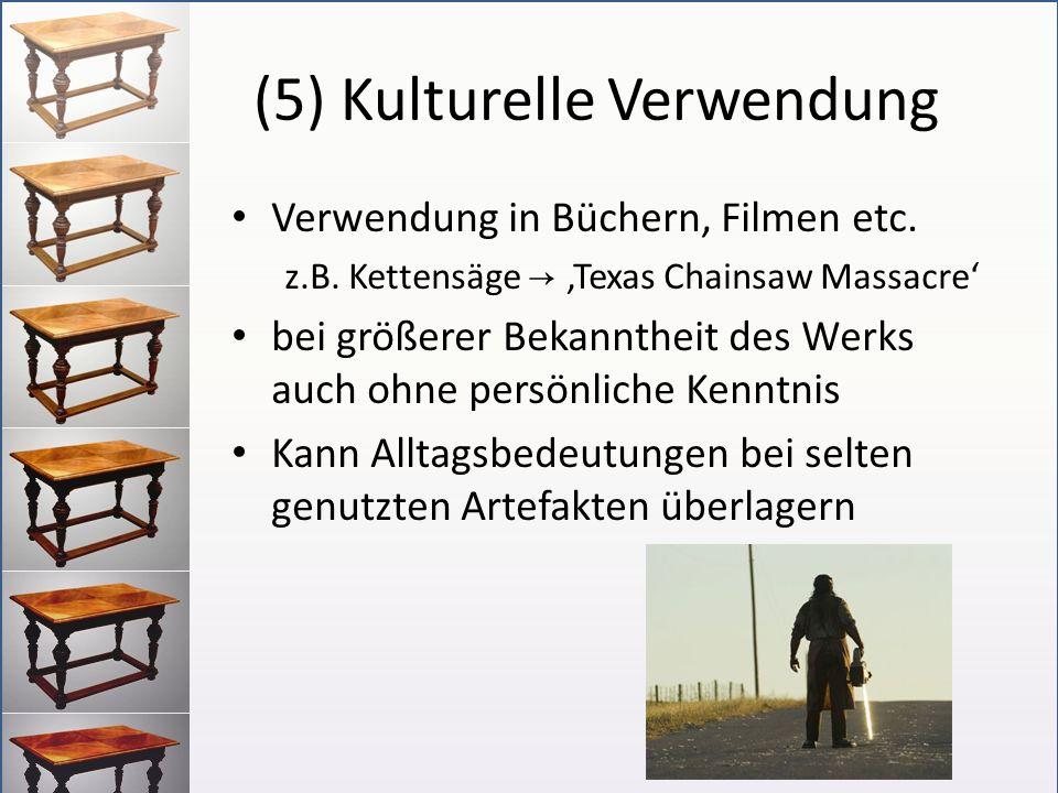 (5) Kulturelle Verwendung Verwendung in Büchern, Filmen etc. z.B. Kettensäge Texas Chainsaw Massacre bei größerer Bekanntheit des Werks auch ohne pers
