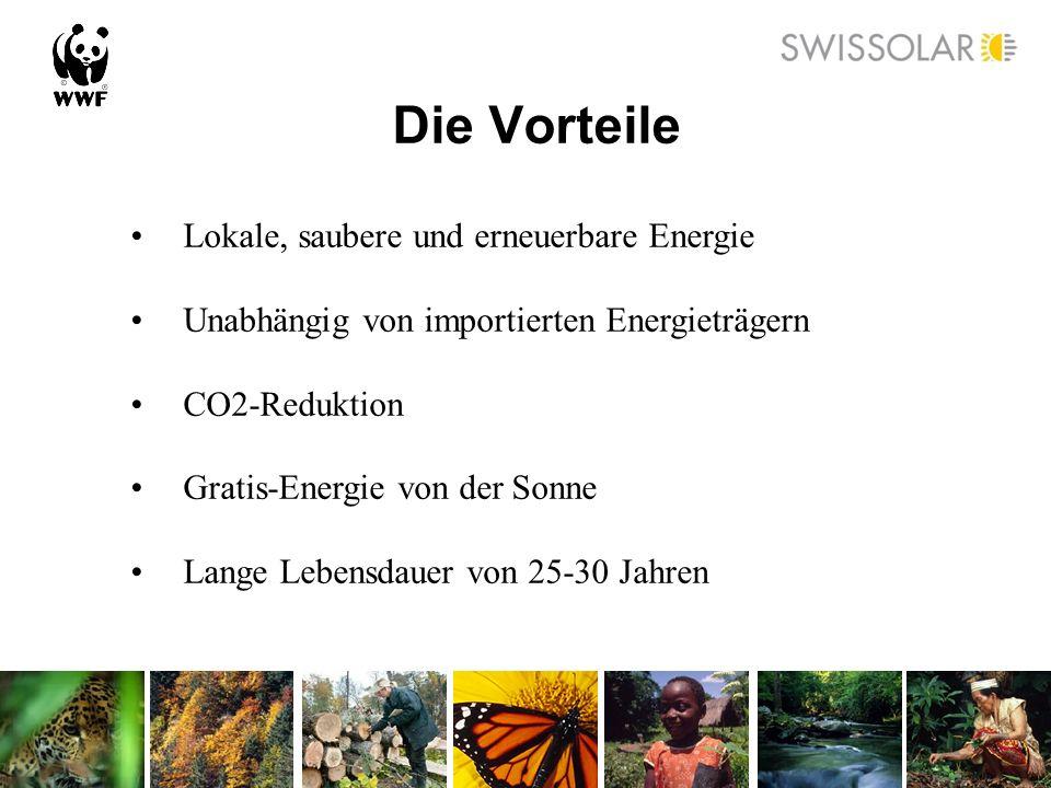 Die Vorteile Lokale, saubere und erneuerbare Energie Unabhängig von importierten Energieträgern CO2-Reduktion Gratis-Energie von der Sonne Lange Leben