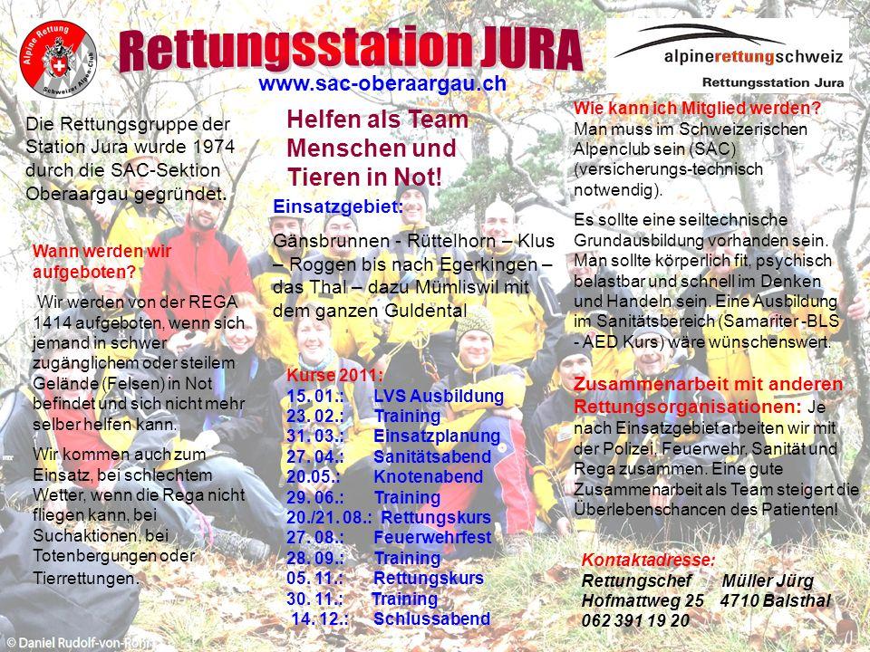 Die Rettungsgruppe der Station Jura wurde 1974 durch die SAC-Sektion Oberaargau gegründet.