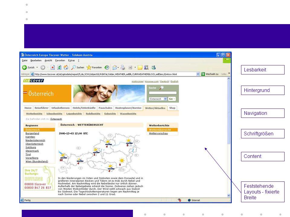 Lesbarkeit Hintergrund Navigation Schriftgrößen Content Feststehende Layouts - fixierte Breite
