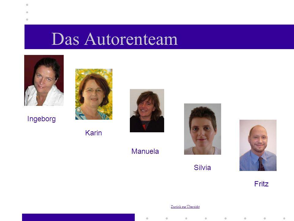 Das Autorenteam Ingeborg Manuela Karin Silvia Fritz Zurück zur Übersicht