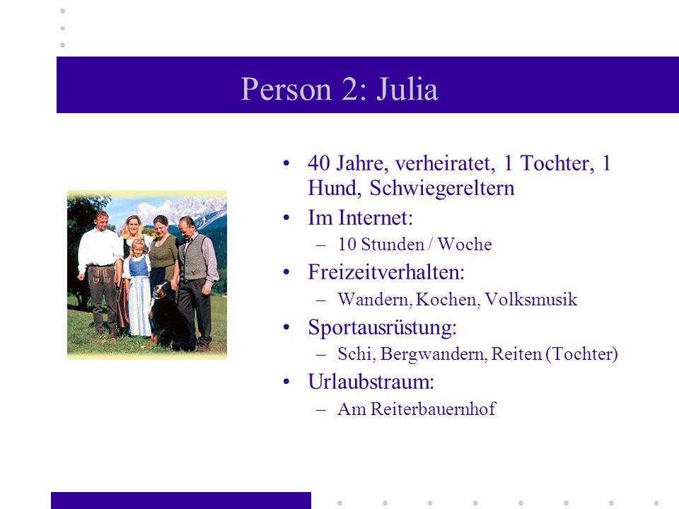 Person 2: Julia 40 Jahre, verheiratet, 1 Tochter, 1 Hund, Schwiegereltern Im Internet: –10 Stunden / Woche Freizeitverhalten: –Wandern, Kochen, Volksm