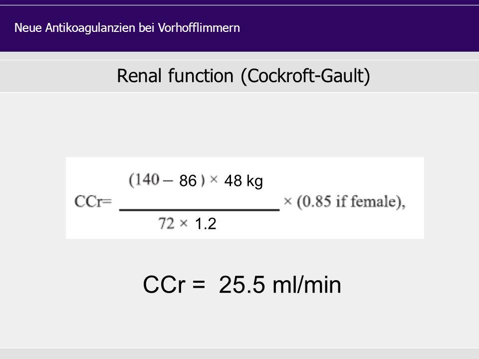 Renal function (Cockroft-Gault) Neue Antikoagulanzien bei Vorhofflimmern 8648 kg 1.2 CCr = 25.5 ml/min