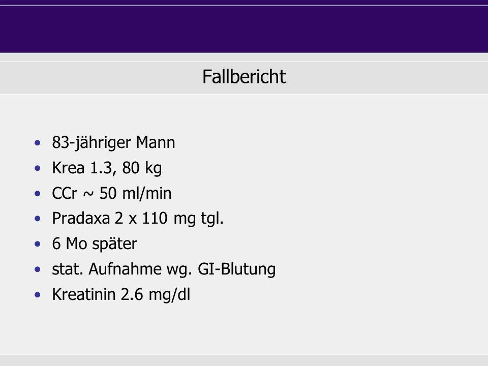 Fallbericht 83-jähriger Mann Krea 1.3, 80 kg CCr ~ 50 ml/min Pradaxa 2 x 110 mg tgl. 6 Mo später stat. Aufnahme wg. GI-Blutung Kreatinin 2.6 mg/dl