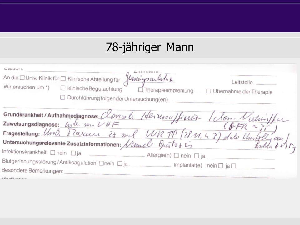Fallbericht 56-jähriger Mann VHFL CHA 2 DS 2 VASc: 1 (Hypertonie) Xarelto 20 mg tgl.