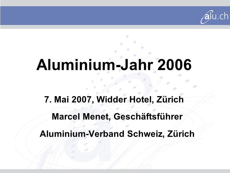 Inhalt Daten und Fakten Europa Rohmetall Entwicklung Aluminiumpreis Halbzeugproduktion Daten und Fakten Schweiz Halbzeugablieferungen Aluminiumeinsatz Leichtmetallguss Aluminium - ein nachhaltiger Werkstoff