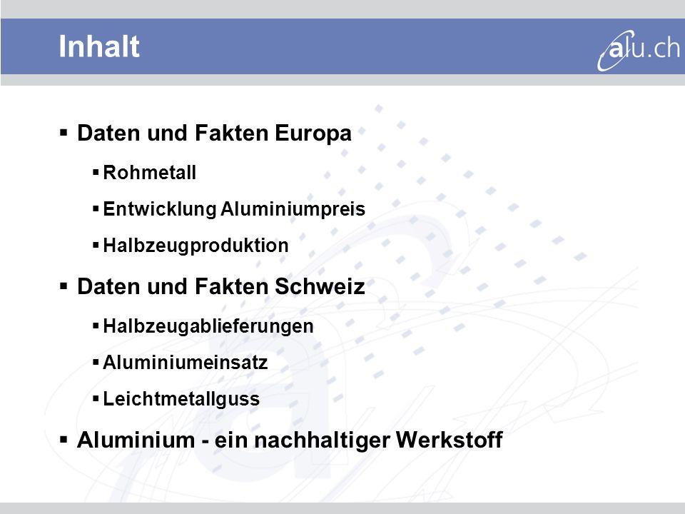 Produktion von Hütten-Aluminium (in 1000 Tonnen) * EU + Norwegen, Schweiz, Türkei Rohmetall Europa und weltweit *