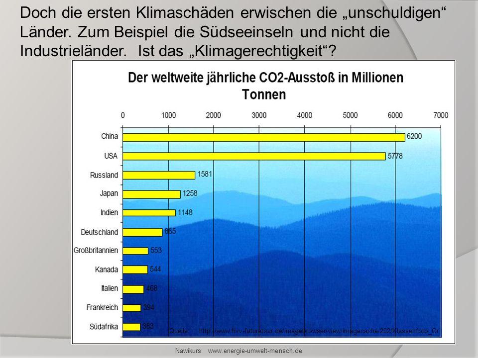 Nawikurs www.energie-umwelt-mensch.de Doch die ersten Klimaschäden erwischen die unschuldigen Länder. Zum Beispiel die Südseeinseln und nicht die Indu