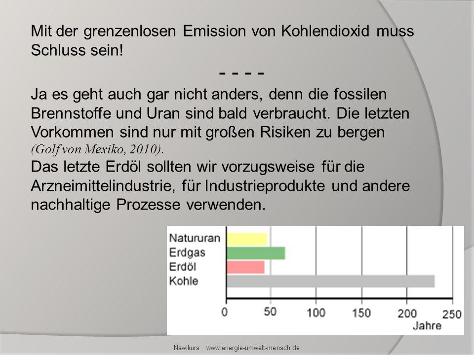 Nawikurs www.energie-umwelt-mensch.de Mit der grenzenlosen Emission von Kohlendioxid muss Schluss sein! - - - - Ja es geht auch gar nicht anders, denn