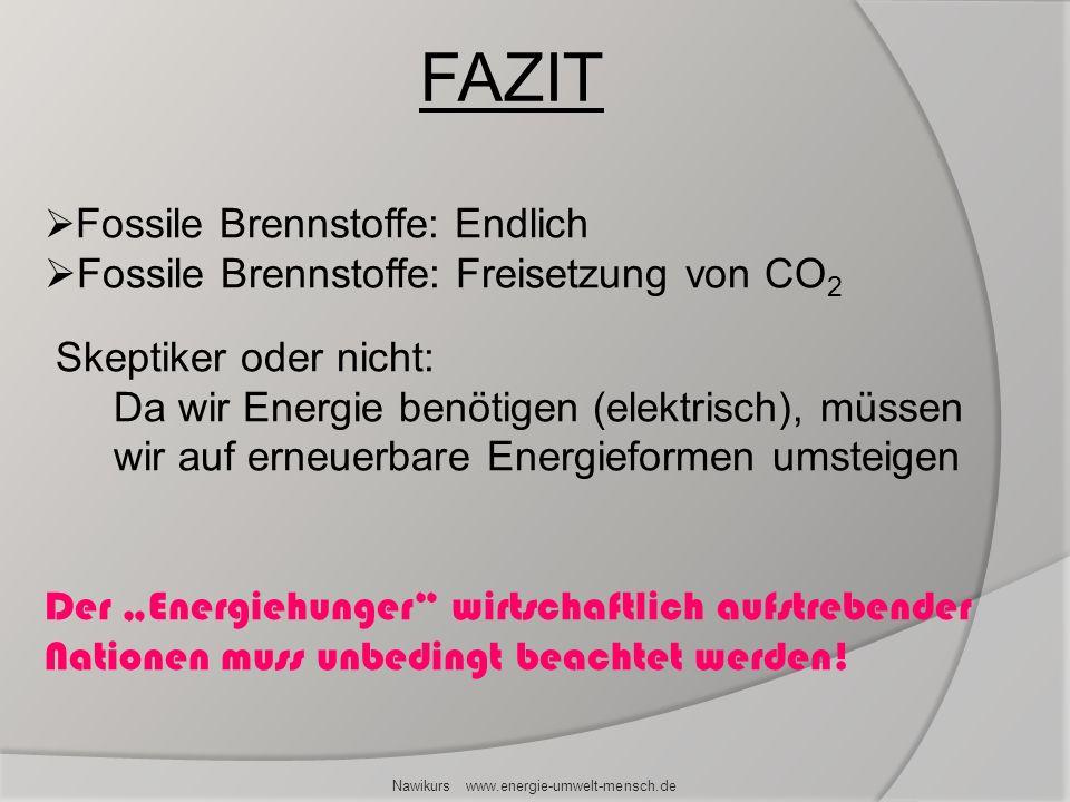 FAZIT Nawikurs www.energie-umwelt-mensch.de Fossile Brennstoffe: Endlich Fossile Brennstoffe: Freisetzung von CO 2 Skeptiker oder nicht: Da wir Energi