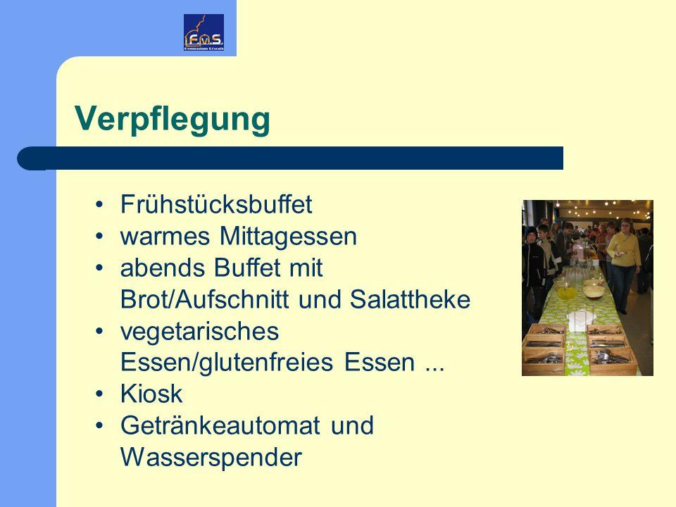 Verpflegung Frühstücksbuffet warmes Mittagessen abends Buffet mit Brot/Aufschnitt und Salattheke vegetarisches Essen/glutenfreies Essen... Kiosk Geträ