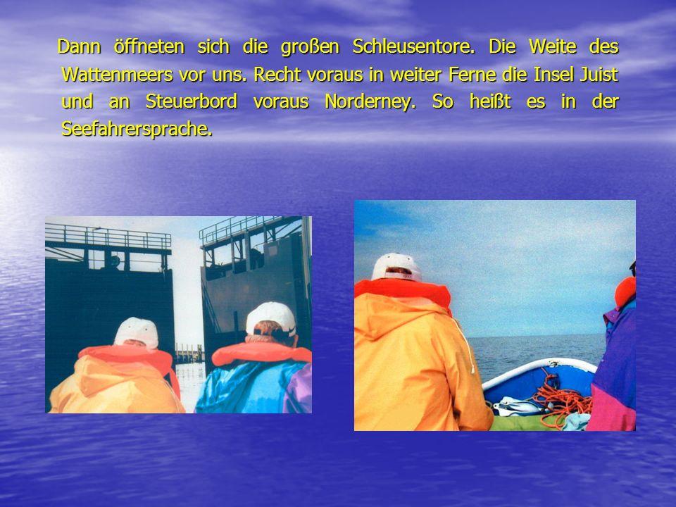 Dann öffneten sich die großen Schleusentore. Die Weite des Wattenmeers vor uns. Recht voraus in weiter Ferne die Insel Juist und an Steuerbord voraus
