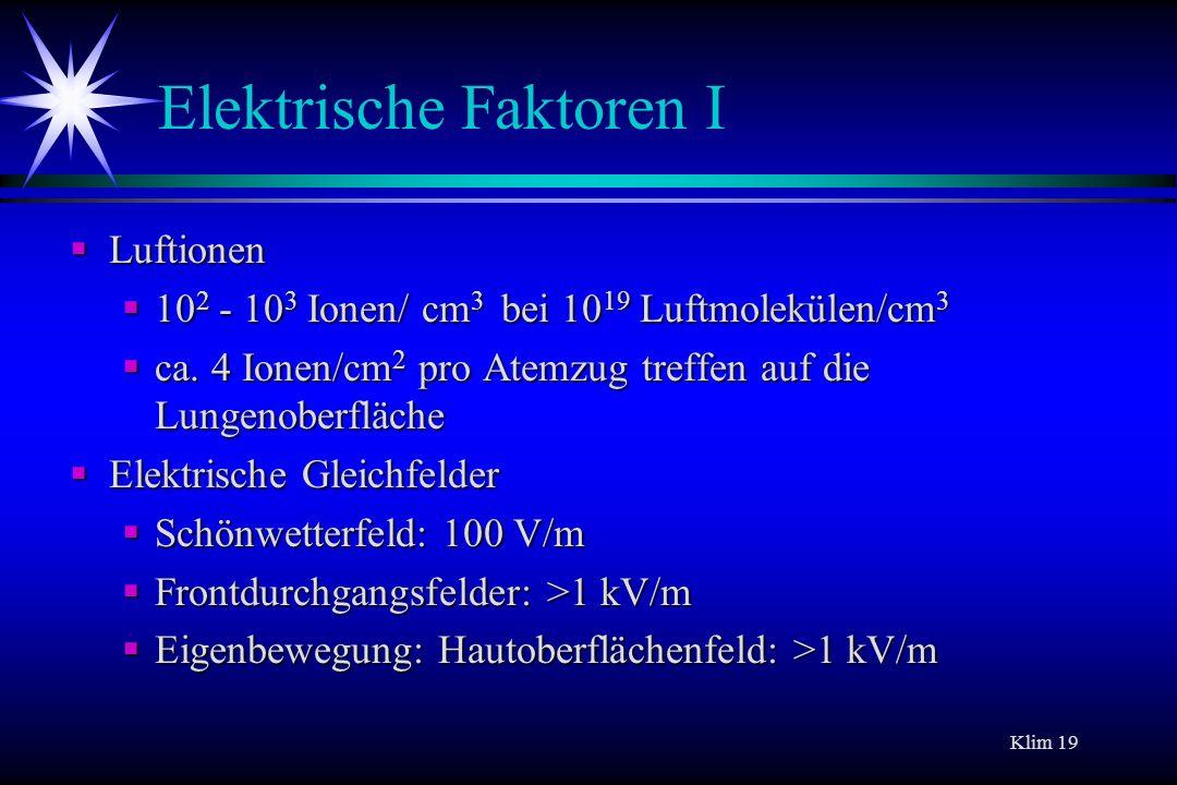 Klim 19 Elektrische Faktoren I Luftionen Luftionen 10 2 - 10 3 Ionen/ cm 3 bei 10 19 Luftmolekülen/cm 3 10 2 - 10 3 Ionen/ cm 3 bei 10 19 Luftmoleküle