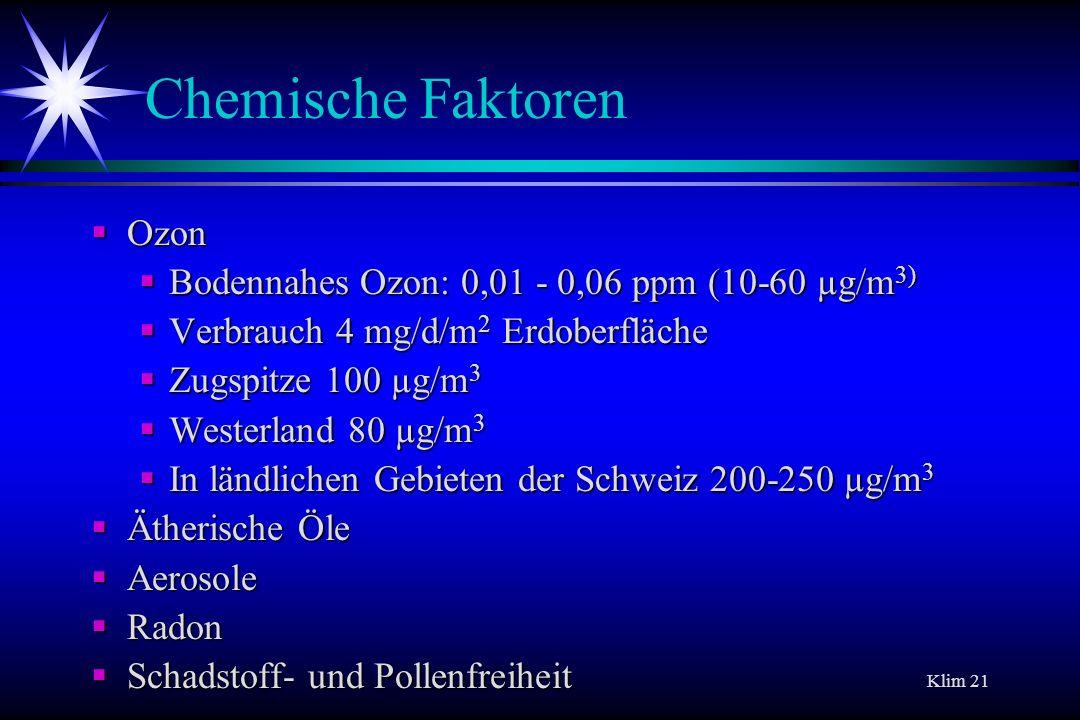 Klim 21 Chemische Faktoren Ozon Ozon Bodennahes Ozon: 0,01 - 0,06 ppm (10-60 µg/m 3) Bodennahes Ozon: 0,01 - 0,06 ppm (10-60 µg/m 3) Verbrauch 4 mg/d/
