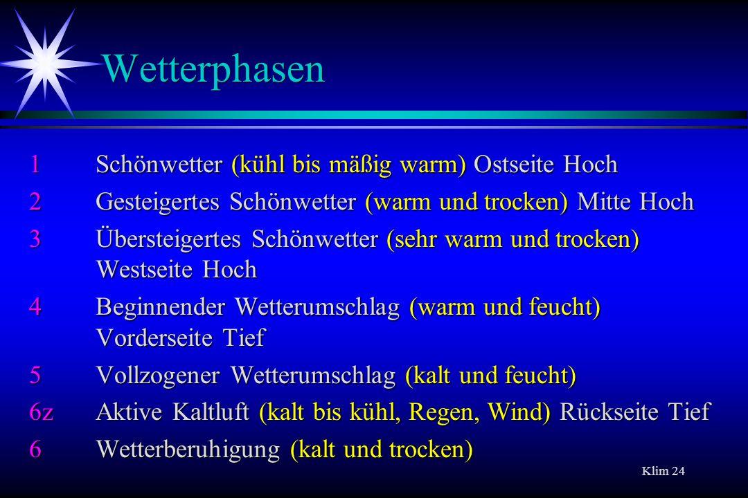 Klim 24 Wetterphasen 1Schönwetter (kühl bis mäßig warm) Ostseite Hoch 2Gesteigertes Schönwetter (warm und trocken) Mitte Hoch 3Übersteigertes Schönwet