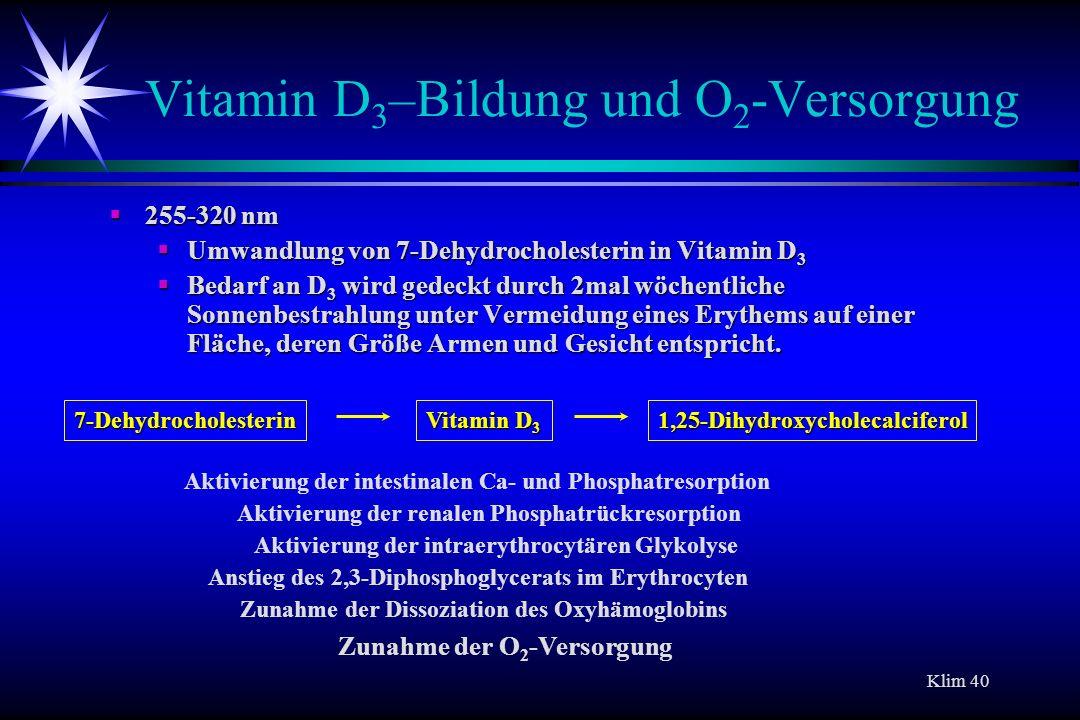 Klim 40 Vitamin D 3 –Bildung und O 2 -Versorgung 255-320 nm 255-320 nm Umwandlung von 7-Dehydrocholesterin in Vitamin D 3 Umwandlung von 7-Dehydrochol
