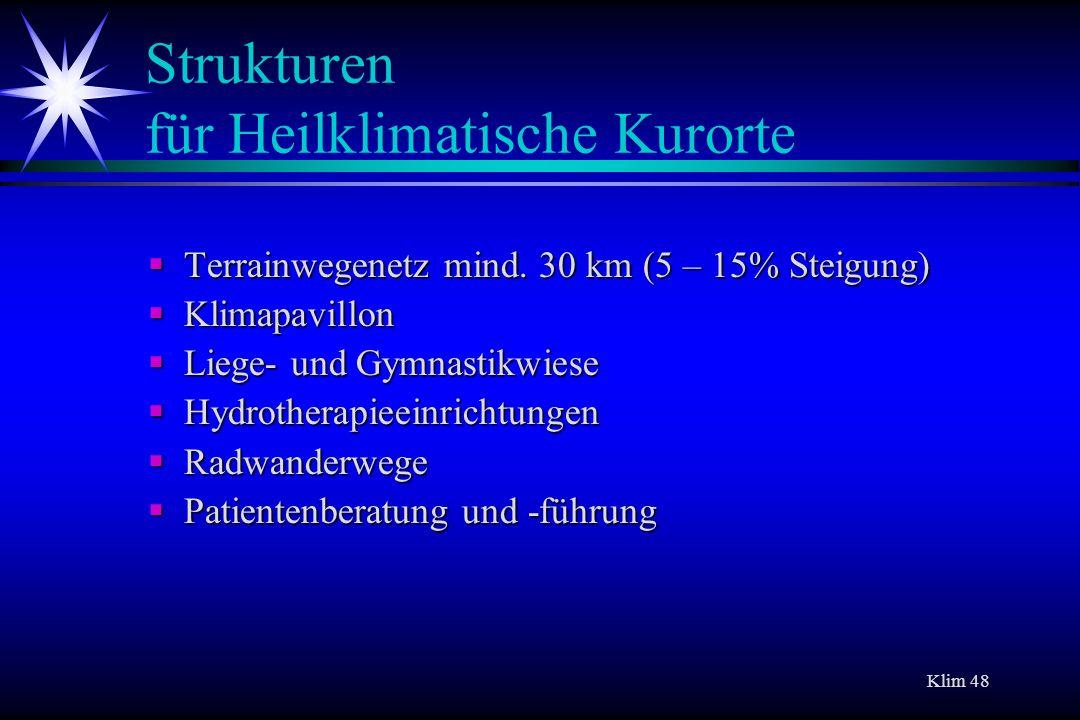 Klim 48 Strukturen für Heilklimatische Kurorte Terrainwegenetz mind. 30 km (5 – 15% Steigung) Terrainwegenetz mind. 30 km (5 – 15% Steigung) Klimapavi