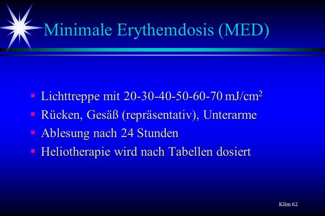 Klim 62 Minimale Erythemdosis (MED) Lichttreppe mit 20-30-40-50-60-70 mJ/cm 2 Lichttreppe mit 20-30-40-50-60-70 mJ/cm 2 Rücken, Gesäß (repräsentativ),