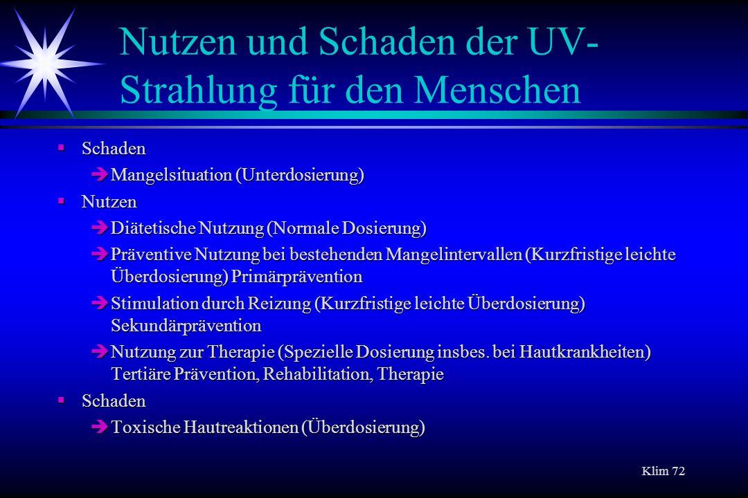 Klim 72 Nutzen und Schaden der UV- Strahlung für den Menschen Schaden Schaden Mangelsituation (Unterdosierung) Mangelsituation (Unterdosierung) Nutzen