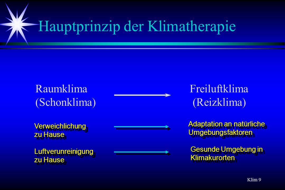 Klim 9 Hauptprinzip der Klimatherapie Raumklima (Schonklima) Freiluftklima (Reizklima) Adaptation an natürliche Umgebungsfaktoren Verweichlichung zu H