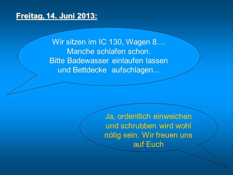 Freitag, 14. Juni 2013: Wir sitzen im IC 130, Wagen 8....
