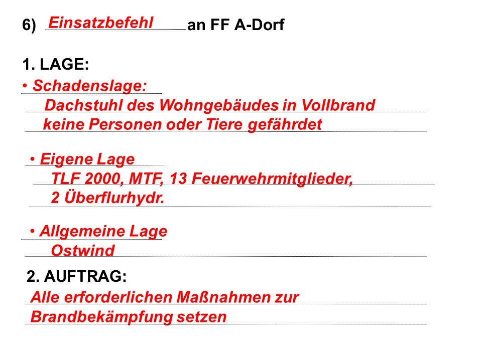 6) an FF A-Dorf 1. LAGE: 2. AUFTRAG: Einsatzbefehl Schadenslage: Dachstuhl des Wohngebäudes in Vollbrand keine Personen oder Tiere gefährdet Alle erfo