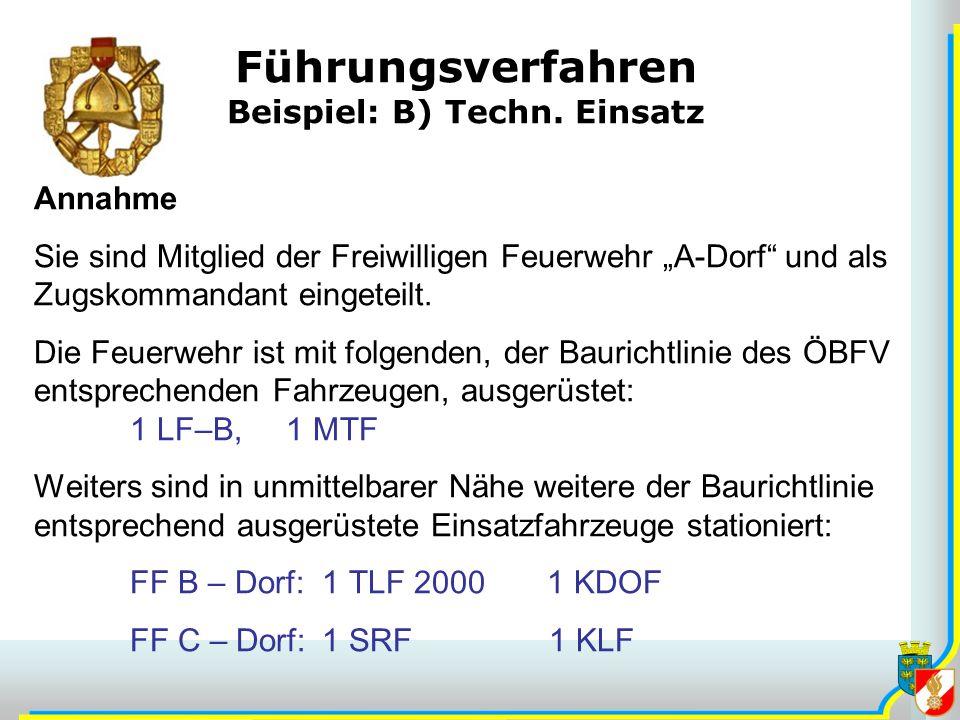 Führungsverfahren Beispiel: B) Techn. Einsatz Annahme Sie sind Mitglied der Freiwilligen Feuerwehr A-Dorf und als Zugskommandant eingeteilt. Die Feuer