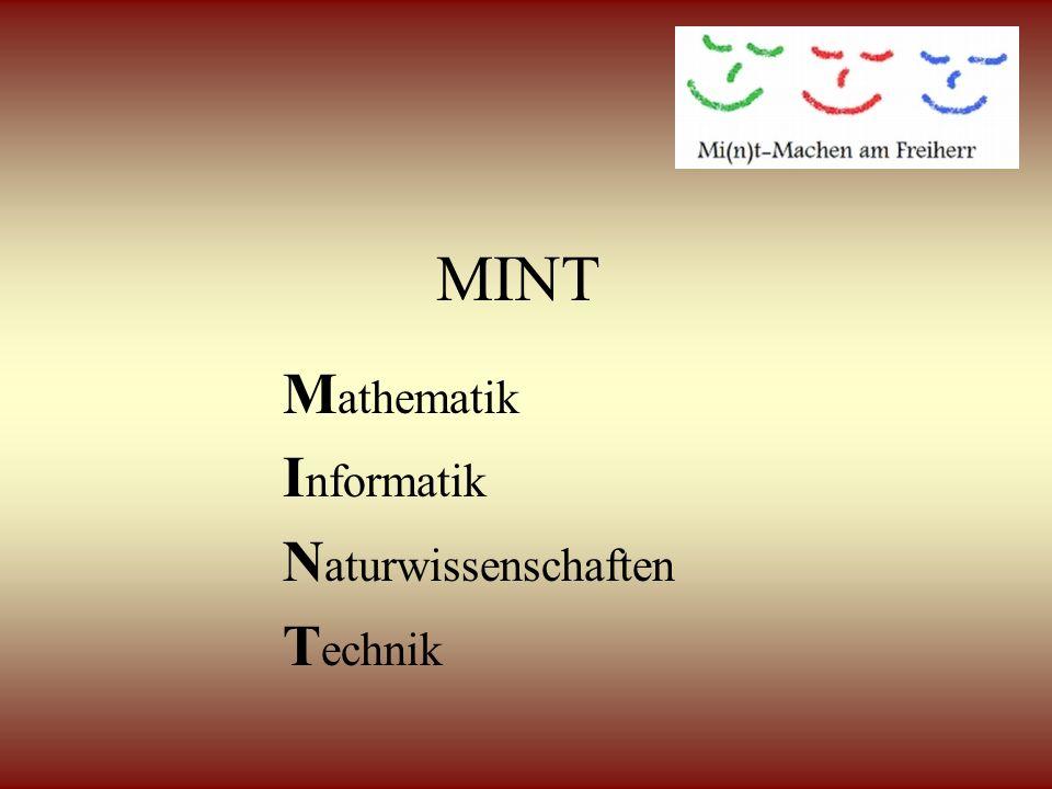 MINT M athematik I nformatik N aturwissenschaften T echnik