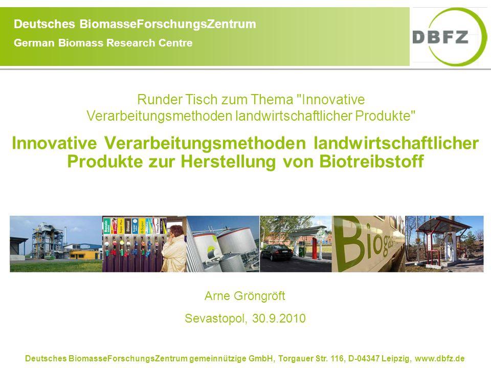 Deutsches BiomasseForschungsZentrum gemeinnützige GmbH, Torgauer Str. 116, D-04347 Leipzig, www.dbfz.de Deutsches BiomasseForschungsZentrum German Bio