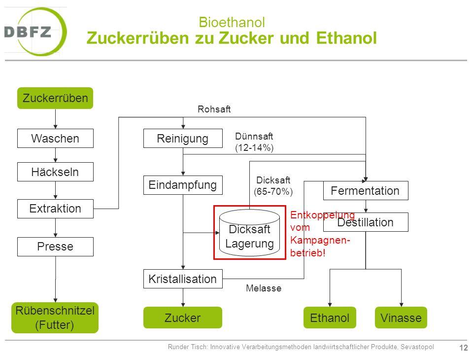 12 Runder Tisch: Innovative Verarbeitungsmethoden landwirtschaftlicher Produkte, Sevastopol Bioethanol Zuckerrüben zu Zucker und Ethanol Entkoppelung