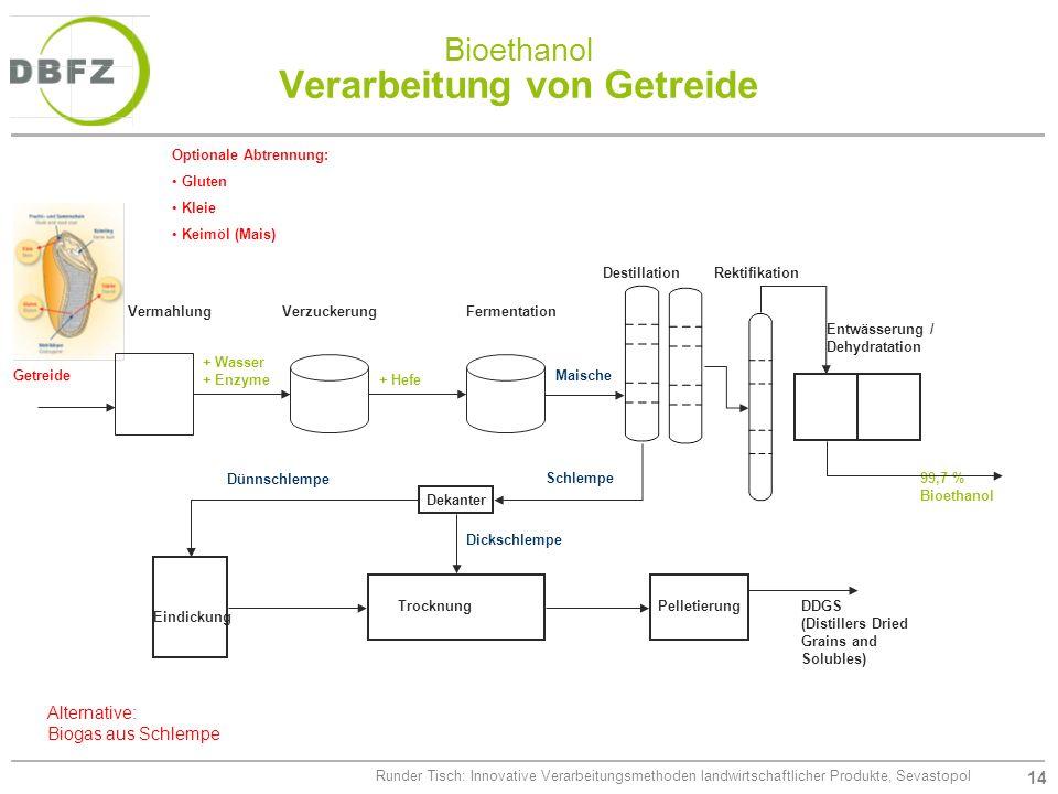 14 Runder Tisch: Innovative Verarbeitungsmethoden landwirtschaftlicher Produkte, Sevastopol Bioethanol Verarbeitung von Getreide Getreide VermahlungVe