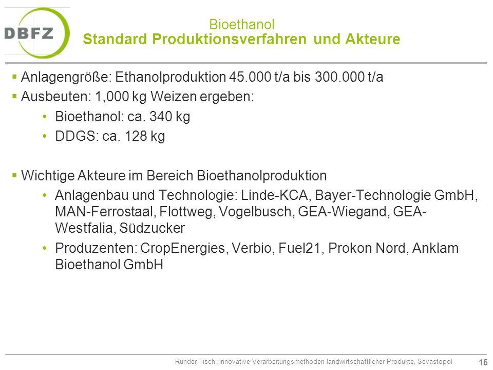 15 Runder Tisch: Innovative Verarbeitungsmethoden landwirtschaftlicher Produkte, Sevastopol Bioethanol Standard Produktionsverfahren und Akteure Anlag