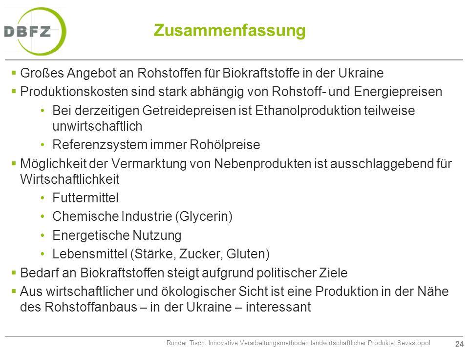 24 Runder Tisch: Innovative Verarbeitungsmethoden landwirtschaftlicher Produkte, Sevastopol Zusammenfassung Großes Angebot an Rohstoffen für Biokrafts
