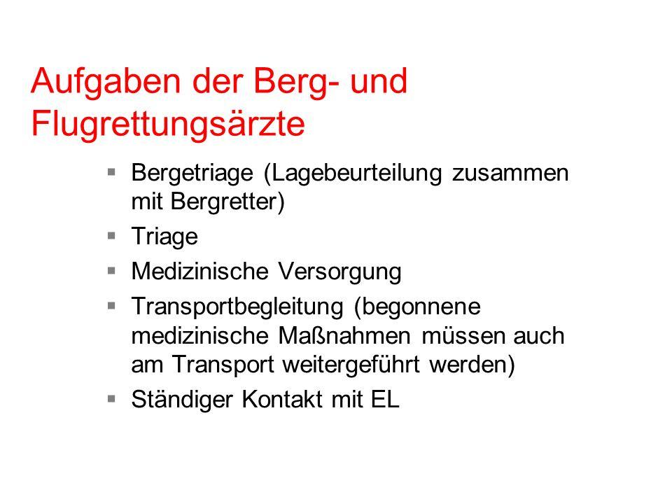 Aufgaben der Berg- und Flugrettungsärzte Bergetriage (Lagebeurteilung zusammen mit Bergretter) Triage Medizinische Versorgung Transportbegleitung (beg