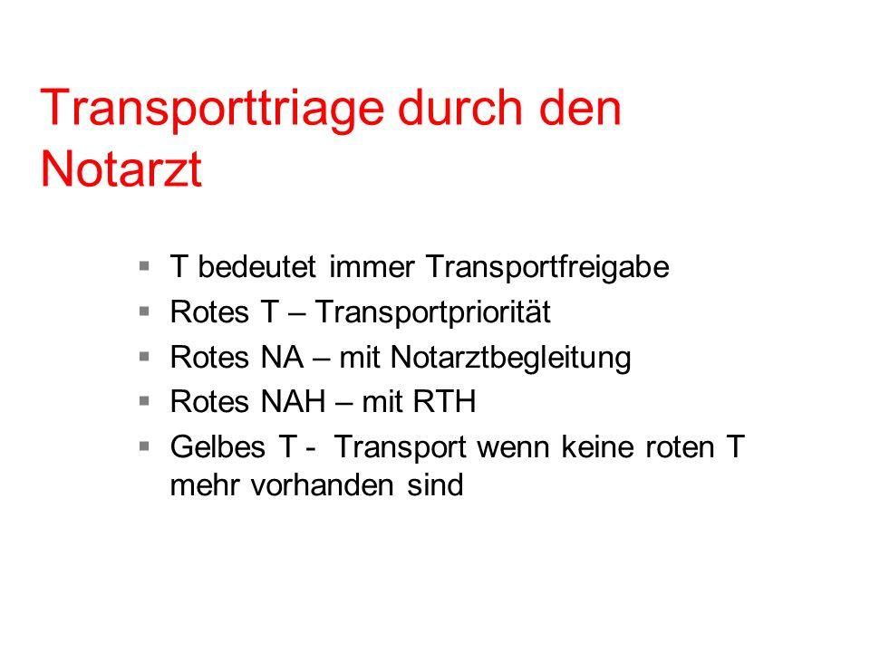Transporttriage durch den Notarzt T bedeutet immer Transportfreigabe Rotes T – Transportpriorität Rotes NA – mit Notarztbegleitung Rotes NAH – mit RTH