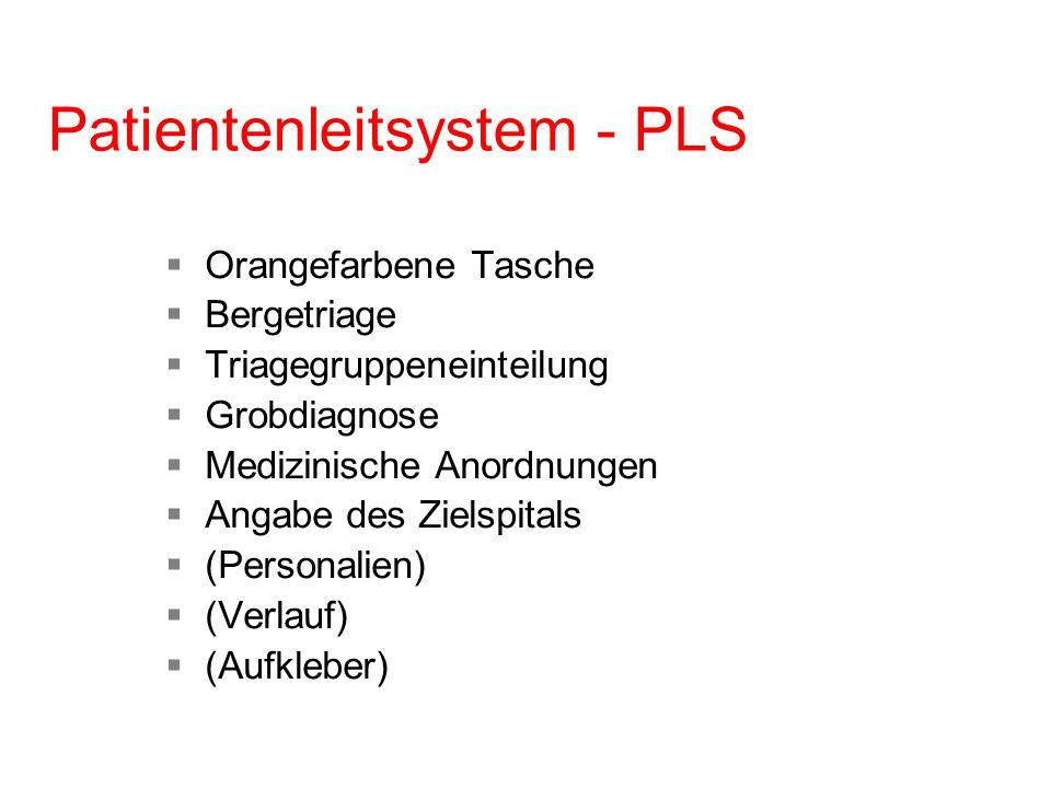 Patientenleitsystem - PLS Orangefarbene Tasche Bergetriage Triagegruppeneinteilung Grobdiagnose Medizinische Anordnungen Angabe des Zielspitals (Perso
