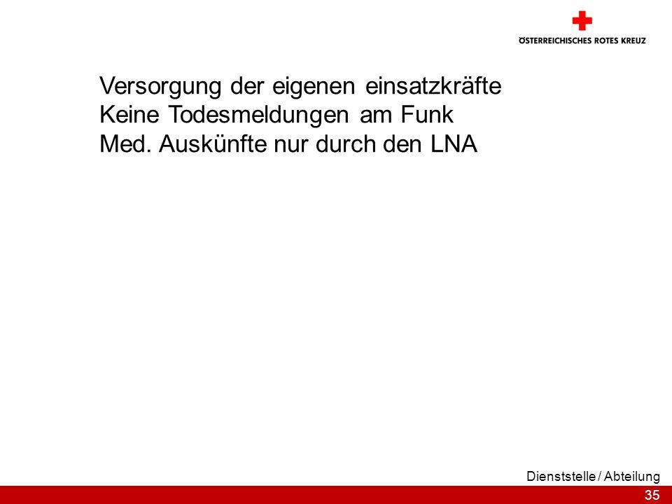 35 Dienststelle / Abteilung Versorgung der eigenen einsatzkräfte Keine Todesmeldungen am Funk Med. Auskünfte nur durch den LNA