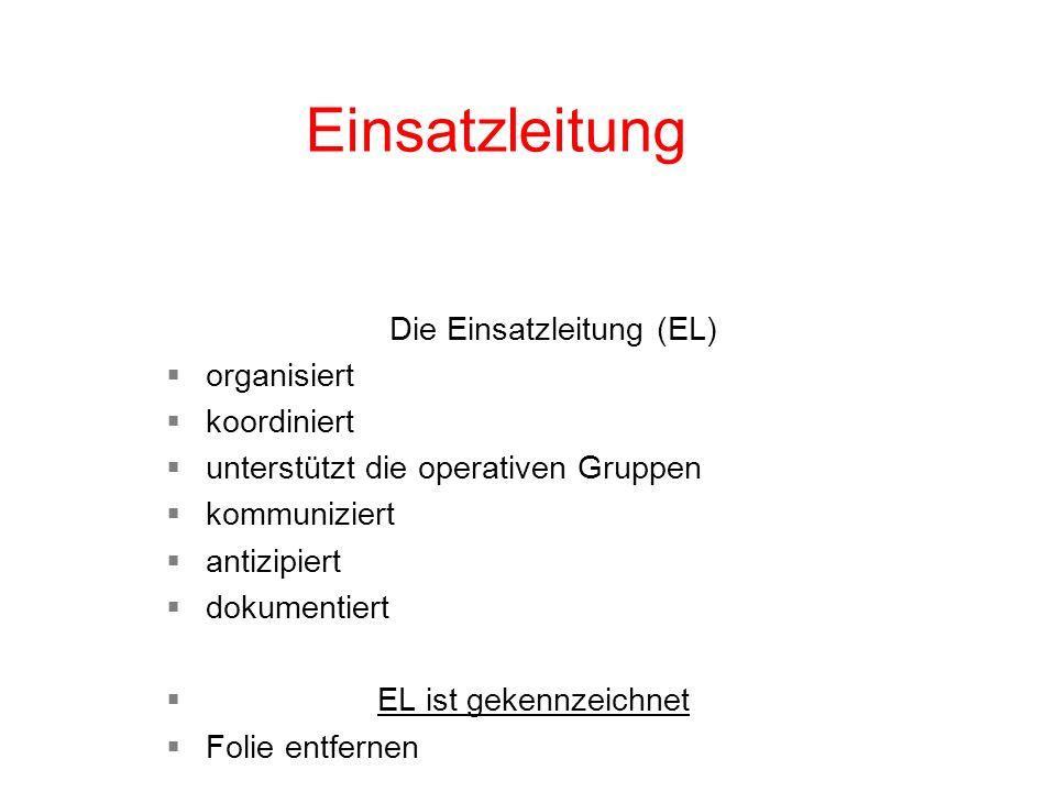 Einsatzleitung Die Einsatzleitung (EL) organisiert koordiniert unterstützt die operativen Gruppen kommuniziert antizipiert dokumentiert EL ist gekennz