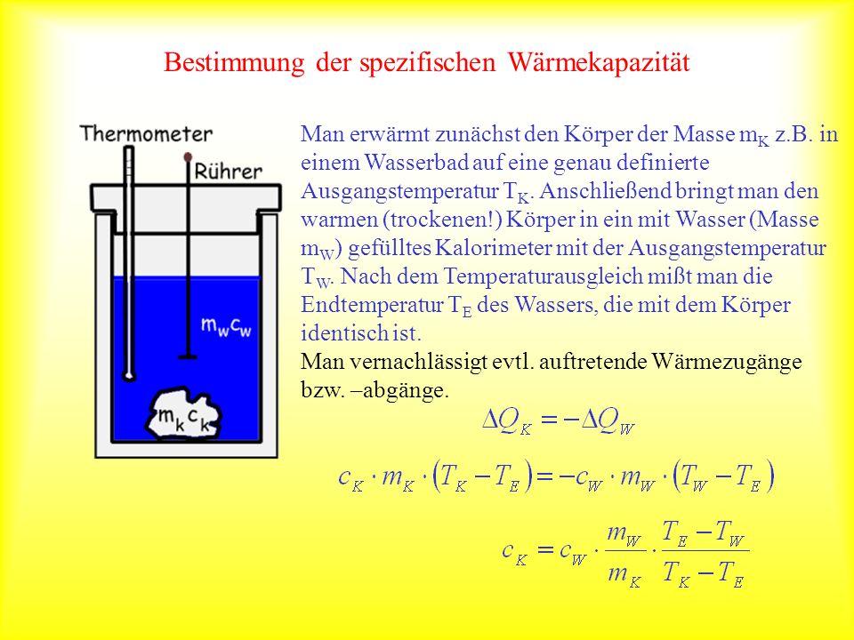 Bestimmung der spezifischen Wärmekapazität Man erwärmt zunächst den Körper der Masse m K z.B. in einem Wasserbad auf eine genau definierte Ausgangstem