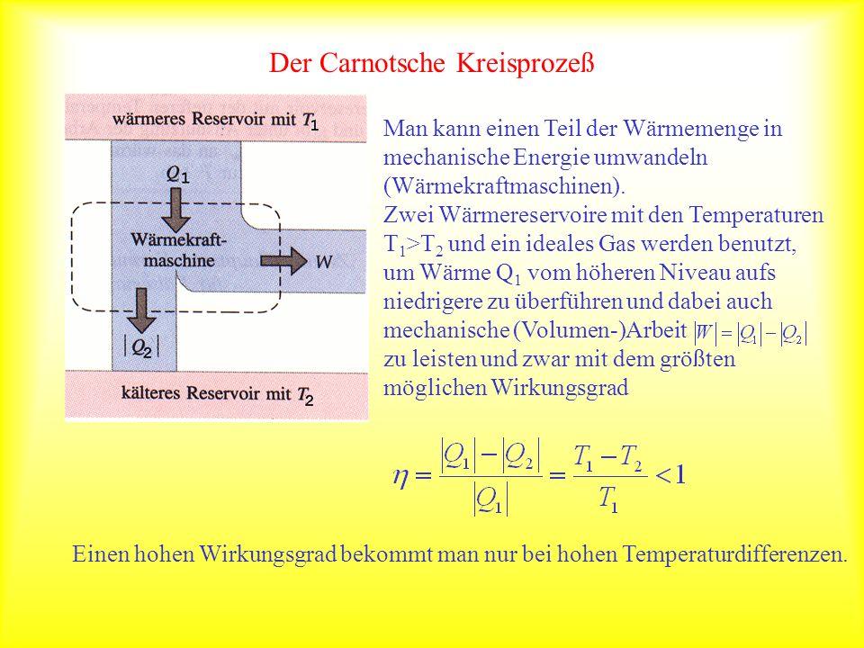 Der Carnotsche Kreisprozeß Man kann einen Teil der Wärmemenge in mechanische Energie umwandeln (Wärmekraftmaschinen). Zwei Wärmereservoire mit den Tem