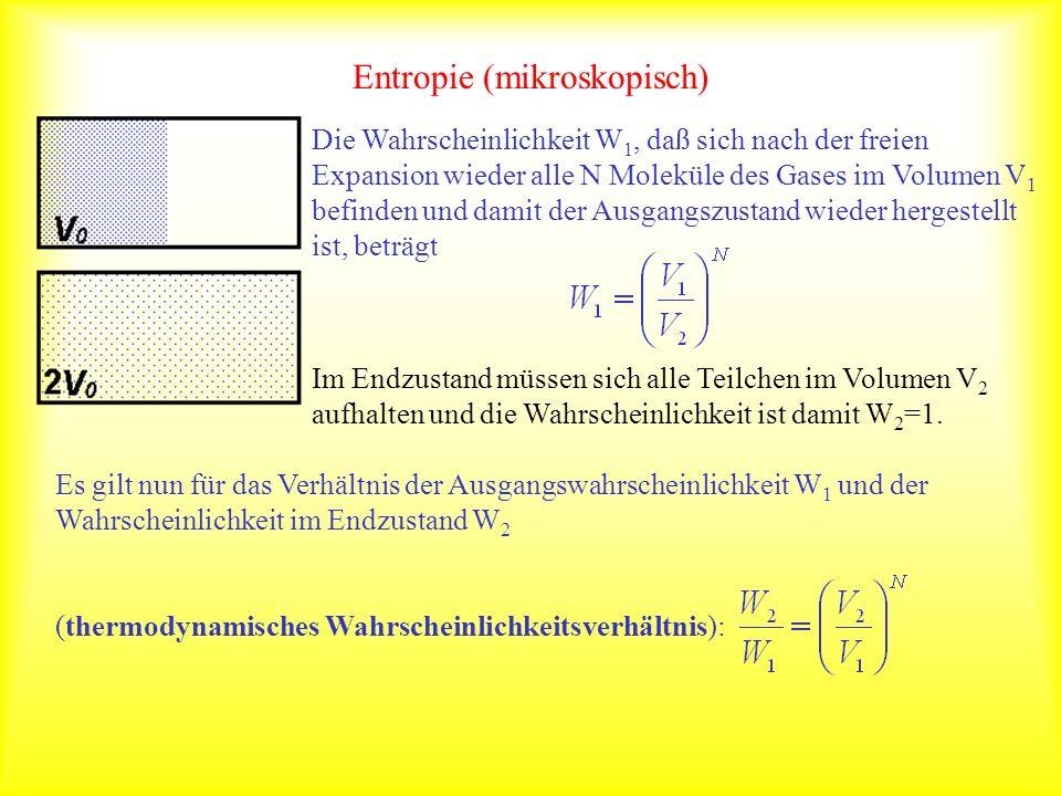Entropie (mikroskopisch) Die Wahrscheinlichkeit W 1, daß sich nach der freien Expansion wieder alle N Moleküle des Gases im Volumen V 1 befinden und d