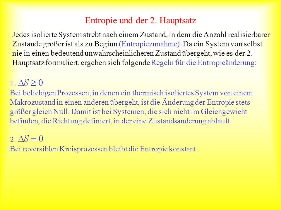 Entropie und der 2. Hauptsatz Jedes isolierte System strebt nach einem Zustand, in dem die Anzahl realisierbarer Zustände größer ist als zu Beginn (En