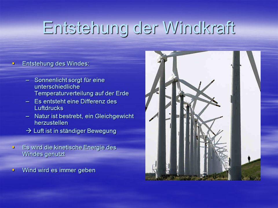 Entstehung der Windkraft Entstehung des Windes: Entstehung des Windes: –Sonnenlicht sorgt für eine unterschiedliche Temperaturverteilung auf der Erde