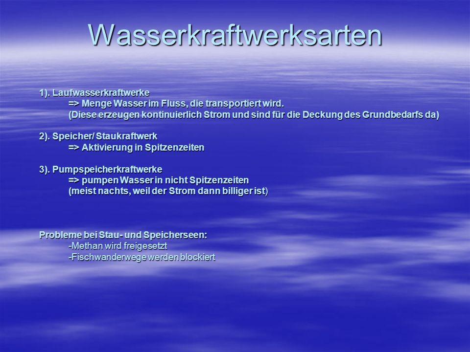 Wasserkraftwerksarten 1). Laufwasserkraftwerke => Menge Wasser im Fluss, die transportiert wird. (Diese erzeugen kontinuierlich Strom und sind für die