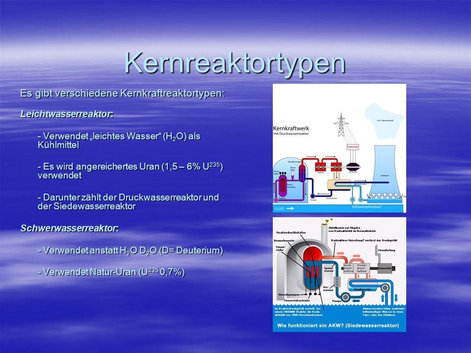 RBMK: - Kühlmittel ist brennbares Graphit und H 2 O - Verwendet Natur-Uran - Wird heutzutage fast nur noch für die Herstellung von Waffen-plutonium verwendet - dieser Reaktortyp wird seit Tschernobyl nicht mehr gebaut (Sicherheitsrisiko) Brutreaktor: - Erzeugt aus Natur-Uran spaltbares Plutonium Plutonium - Kühlmittel ist flüssiges Natrium