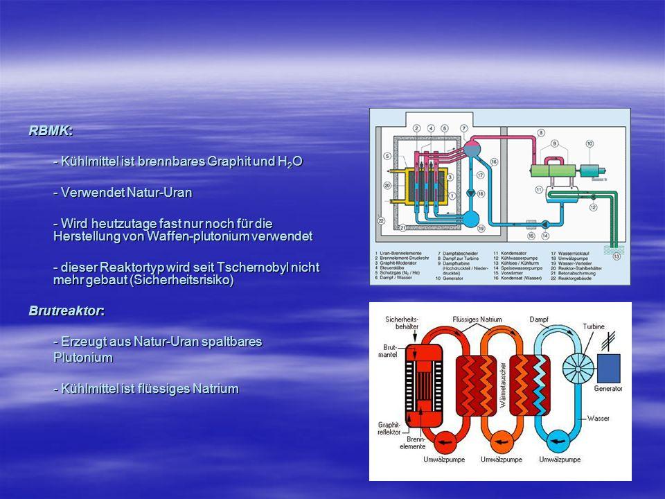 RBMK: - Kühlmittel ist brennbares Graphit und H 2 O - Verwendet Natur-Uran - Wird heutzutage fast nur noch für die Herstellung von Waffen-plutonium ve