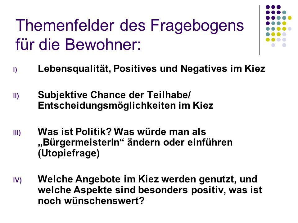 Themenfelder des Fragebogens für die Bewohner: I) Lebensqualität, Positives und Negatives im Kiez II) Subjektive Chance der Teilhabe/ Entscheidungsmöglichkeiten im Kiez III) Was ist Politik.