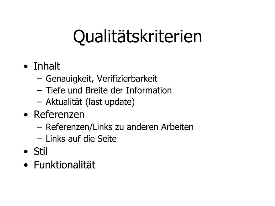 Qualitätskriterien Inhalt –Genauigkeit, Verifizierbarkeit –Tiefe und Breite der Information –Aktualität (last update) Referenzen –Referenzen/Links zu